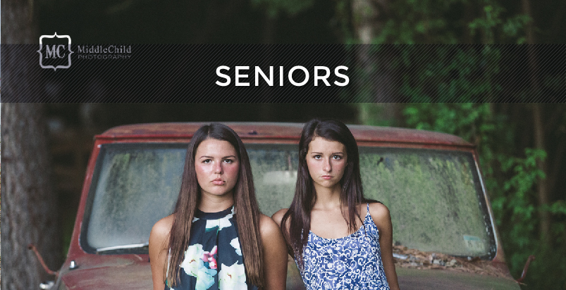 Seniors Button - Senior Photography - Two girls in front of a truck