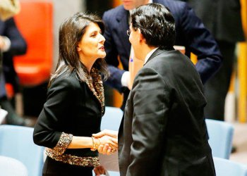 US Ambassador to the UN Nikki Haley speaks with UN Ambassador Danny of Israel after meeting on the situation in the Middle East ,at UN HQ in New York/AFP