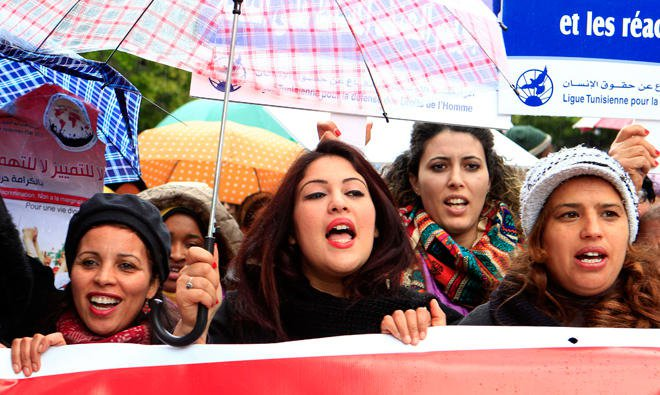 Women march to commemorate International Women's Day in Tunis/REUTERS
