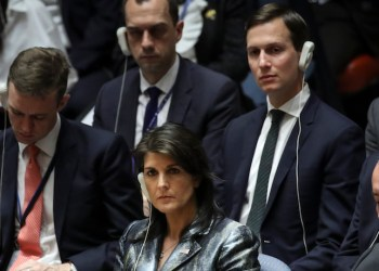 Nikki Haley, the U.S. ambassador to the United Nations, and Jared Kushner, a White House Senior Advisor, attend a U.N. Security Council meeting on February 20, 2018 in New York City. (Photo by Drew Angerer/Getty Images)