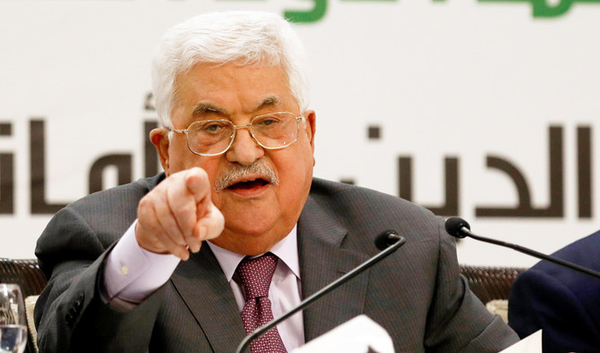Palestinian President Mahmoud Abbas gestures as he speaks during a conference on Jerusalem, in Ramallah in the occupied West Bank April 11, 2018. REUTERS/Mohamad Torokman