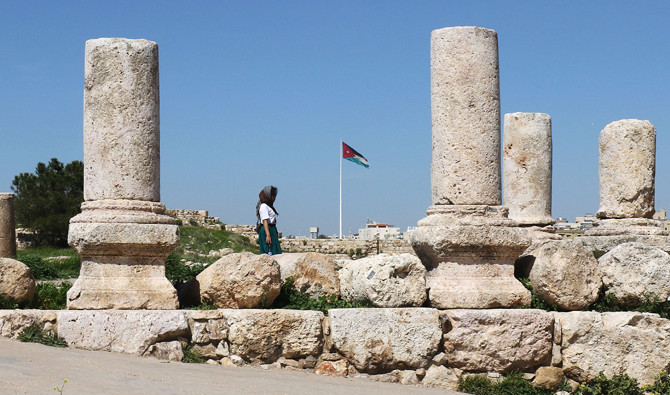 Tourists visit the Amman Citadel in the Jordanian capital on March 13. (AFP )