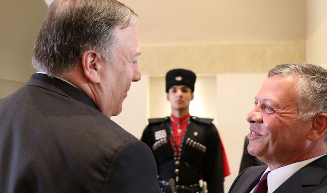 US Secretary of State Mike Pompeo meets with Jordan's King Abdullah II at the Royal Palace in Amman, Jordan. /Reuters