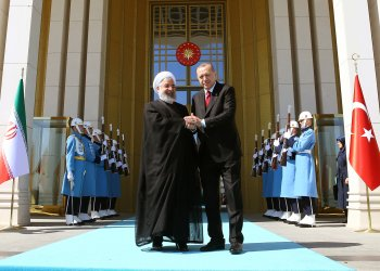 Turkish President Tayyip Erdogan meets with his Iranian counterpart Hassan Rouhani at the Presidential Palace in Ankara, Turkey April 4, 2018. Kayhan Ozer/Presidential Palace/Handout via REUTERS