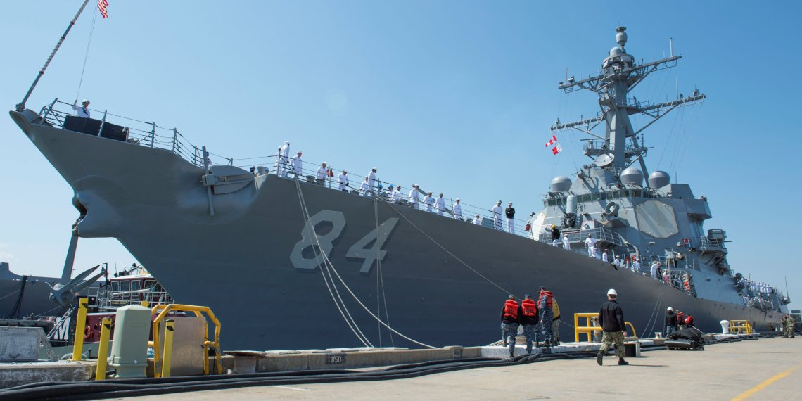 U.S. Navy sailors aboard guided-missile destroyer USS Bulkeley cast off lines to depart as part of the Harry S. Truman Carrier Strike Group deployment towards the Middle East from Naval Station Norfolk, Virginia, U.S. April 11, 2018. U.S. Navy/Mass Communication Specialist 2nd Class Lindsey E. Skelton/Handout via REUTERS