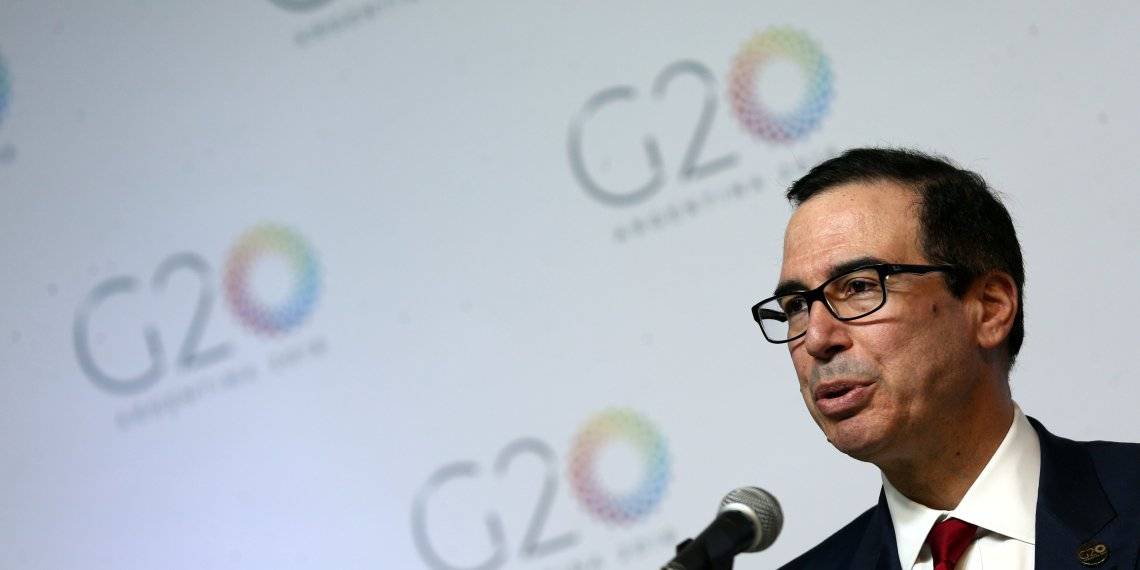 FILE PHOTO - U.S. Treasury Secretary Steven Mnuchin speaks during a news conference at the G20 Meeting of Finance Ministers in Buenos Aires, Argentina, March 20, 2018. REUTERS/Marcos Brindicci