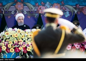Iranian President Hassan Rouhani attends the National Army Day parade in Tehran, Iran, April 18, 2018. REUTERS/Tasnim News Agency/Handout via REUTERS