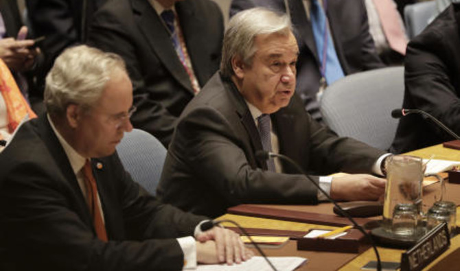 Antonio Guterres, Secretary-General of the United Nations , speaks during a Security Council meeting,Friday, April 13,2018 t the UN´s headquarter AP