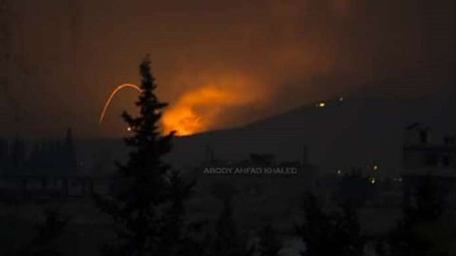 Fire and explosions are seen in what purported to be the Mountain 47 region, countryside south of Hama city, Syria, April 29, 2018 in this picture obtained from social media. Abody Ahfad Khaled /via R SOCIAL MEDIA/ REUTERS