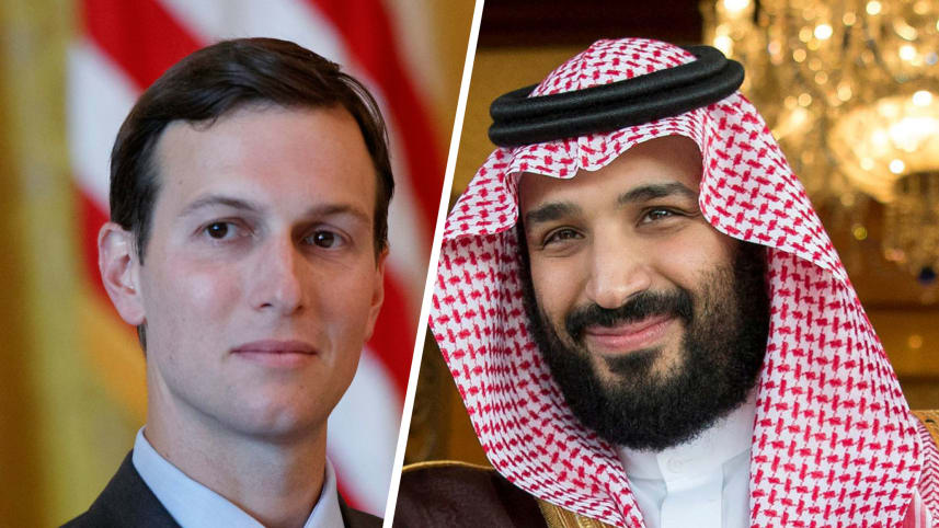 Jared Kushner and Saudi Deputy Crown Prince Mohammed bin Salman.AP Photo/Evan Vucci, Handout ./REUTERS