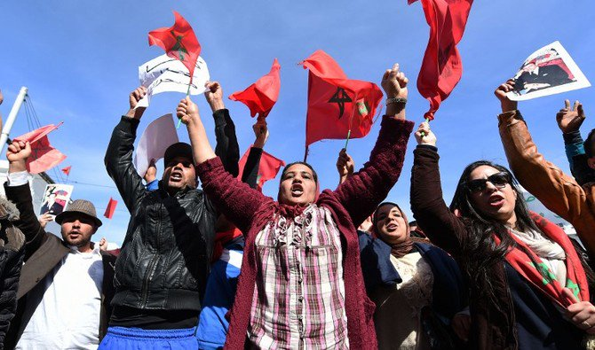 File photo showing Moroccan people protesting in support of Western Sahara. (AFP)