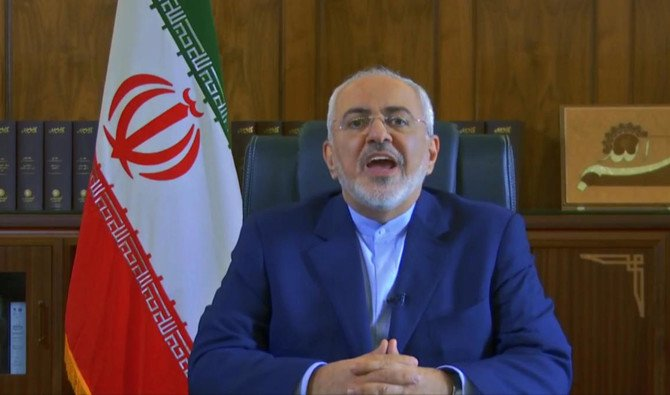 Screen grab from footage made available by the Iranian Government via YouTube showing Iranian Foreign Minister Mohammad Javad Zarif delivers a message about Iran nuclear deal,Tehran, Iran, Thursday, May 3, 2018. (AP)