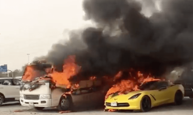 Cars are ablaze outside a Dubai mall in this image shared on social media on Saturday.