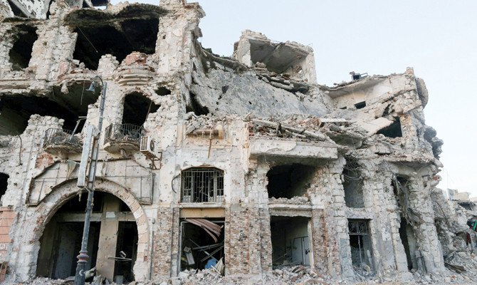 A historic building that was destroyed during a three-year conflict in Benghazi. (Reuters file photo)