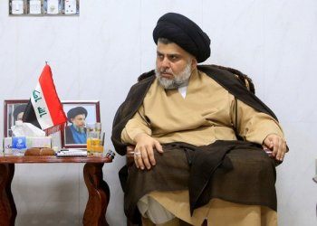 Iraqi cleric Moqtada al-Sadr meets with ambassadors of Turkey, Jordan, Saudi Arabia, Syria and Kuwait, in Najaf, Iraq on May 18, 2018. (REUTERS/Alaa al-Marjani)