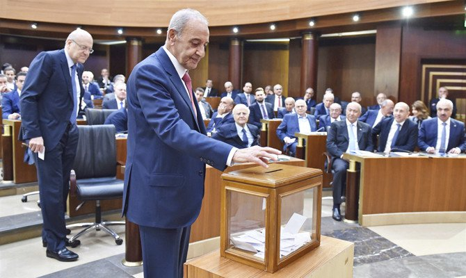 The 128-seat assembly voted 98 in favor of Nabih Berri, with 29 blank ballots and one that was annulled. (AP)