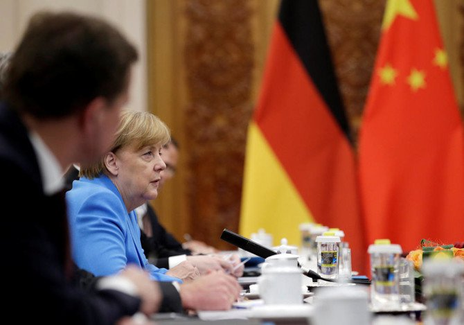 German Chancellor Angela Merkel attends a meeting with China's Premier Li Keqiang (not pictured) at the Great Hall of the People in Beijingon Thursday, May 24. (Reuters)