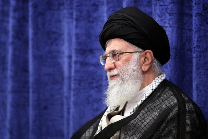 In this picture released by an official website of the office of the Iranian supreme leader, Supreme Leader Ayatollah Ali Khamenei attends a meeting with government officials in Tehran, Iran, Wednesday, May 23, 2018. (AP)