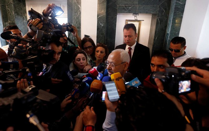 Rached Ghannouchi, head of the Ennahda party speaks to journalists in Tunis, Tunisia, May 28, 2018. (Reuters)