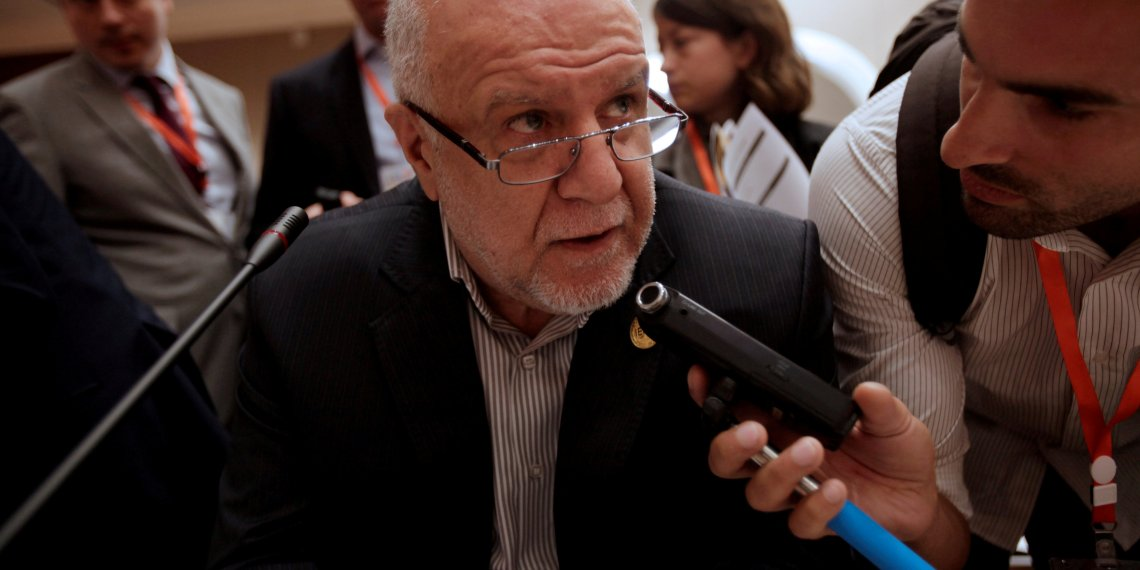 FILE PHOTO: Iranian Oil Minister Bijan Zanganeh talks to reporters during the 15th International Energy Forum Ministerial (IEF15) in Algiers, Algeria September 27, 2016. REUTERS/Ramzi Boudina/File Photo