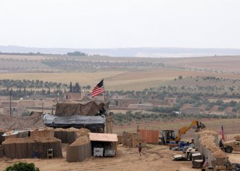 U.S. forces set up a new base in Manbij, Syria May 8, 2018. Picture Taken May 8, 2018. REUTERS/Rodi Said