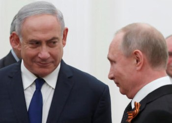 Russian President Vladimir Putin and Israeli Prime Minister Benjamin Netanyahu attend a meeting at the Kremlin in Moscow, Russia May 9, 2018. (Reuters)