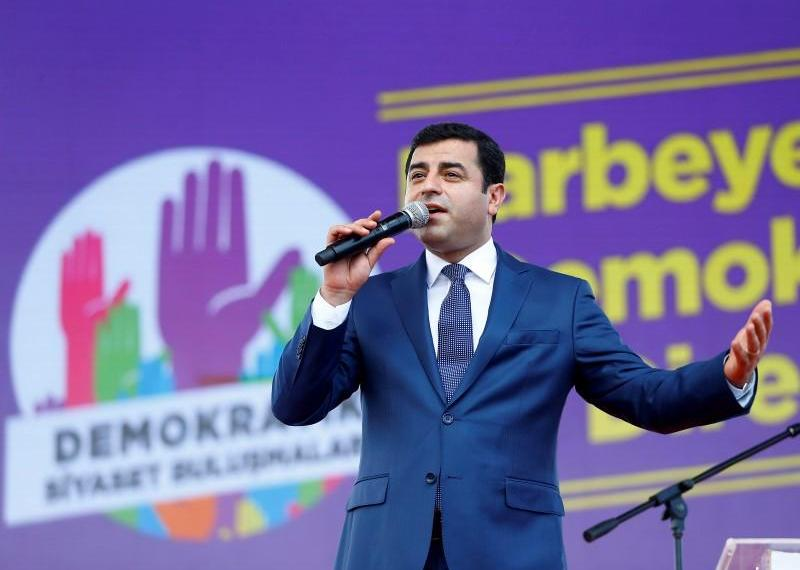 The leader of Turkey's pro-Kurdish opposition Peoples' Democratic Party (HDP) Selahattin Demirtas, makes a speech during a rally in Istanbul, Turkey, June 5, 2016. REUTERS/Osman Orsal
