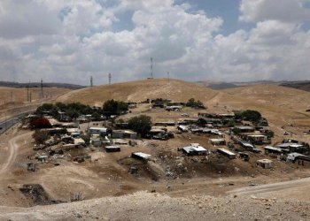 Khan Al-Ahmar Bedouin village, located between the West Bank city of Jericho and Jerusalem, near the Israeli settlement of Ma'ale Adumim, is scheduled for demolition. (AFP)