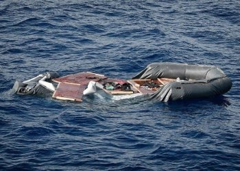 A file photo showing a deflated rubber boat in seen at the sea, after the Libyan Coast Guard intercepted migrants aboard, some 25 nautical miles off the Libyan coast on May 8, 2018. (AFP)