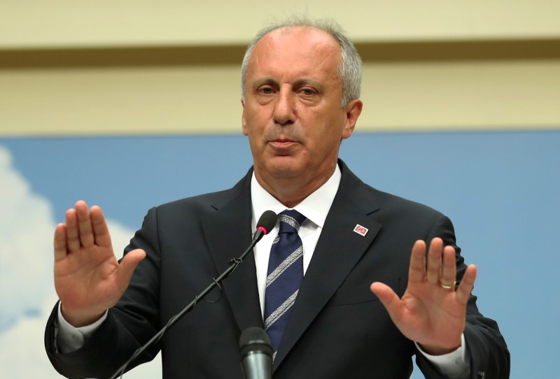 Muharrem Ince, presidential candidate of main opposition Republican People's Party (CHP) holds a news conference to assess election results in Ankara, Turkey, 25 June 2018. REUTERS/Umit Bektas