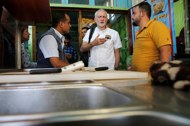 Britain's opposition leader Jeremy Corbyn during his visit to Al Zaatari refugee camp, in the Jordanian city of Mafraq, near the border with Syria, June 22, 2018. REUTERS/Muhammad Hamed
