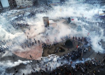 Tear gas surrounding the protesters in Gezi Park, Taksim, Istanbul. 2013. (social media)