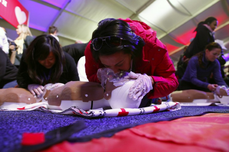 People learn CPR as part of a National Day of Service event on the National Mall in Washington D.C. January 19, 2013. REUTERS/Eric Thayer