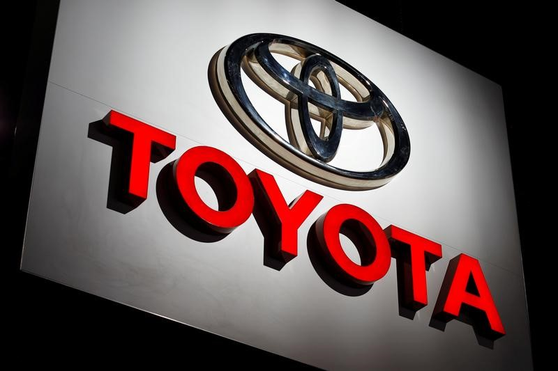 FILE PHOTO: The Toyota logo is shown at the Los Angeles Auto Show in Los Angeles, California, U.S., November 30, 2017. REUTERS/Mike Blake/File Photo
