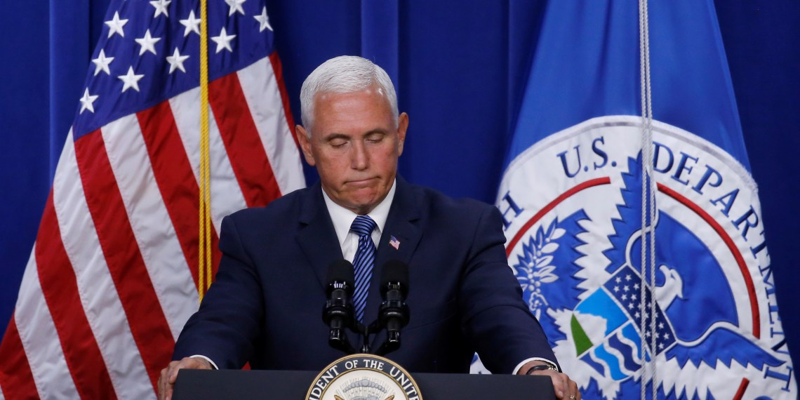 U.S. Vice President Mike Pence visits the Immigration and Customs Enforcement agency (ICE) and gives remarks at their headquarters in Washington, U.S., July 6, 2018. REUTERS/Leah Millis