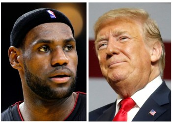 FILE PHOTO: A combination photo of NBA basketball player LeBron James (L) in Oakland, California January 16, 2013 and U.S. President Donald Trump in Lewis Center, Ohio August 4, 2018. REUTERS/Robert Galbraith, Leah Millis/File Photo