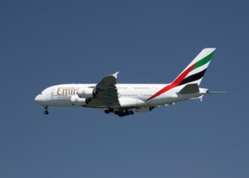An Emirates Airbus A380-800 airliner prepares to land at Nice international airport, France