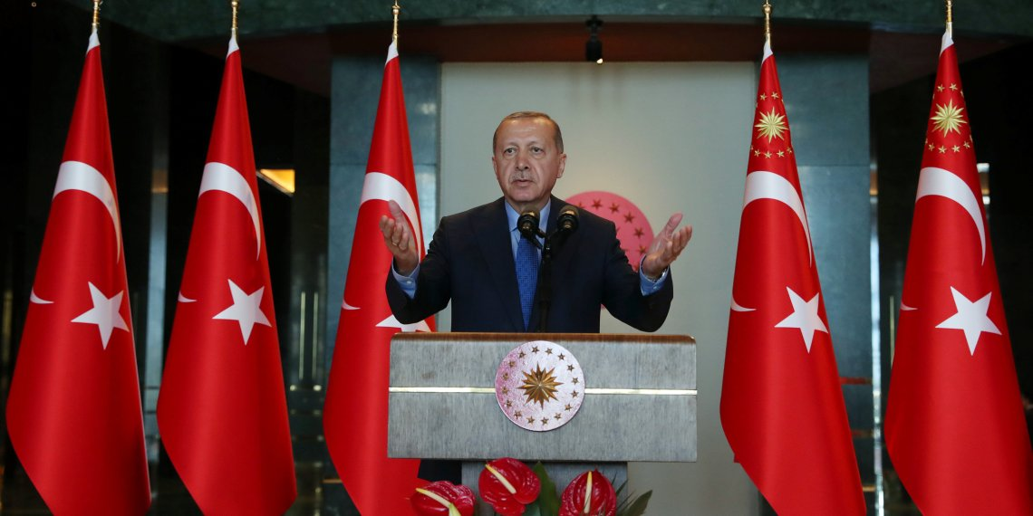 Turkey's President Tayyip Erdogan addresses Turkish Ambassadors during a meeting in Ankara, Turkey August 13, 2018. Kayhan Ozer/Presidential Palace/Handout via REUTERS