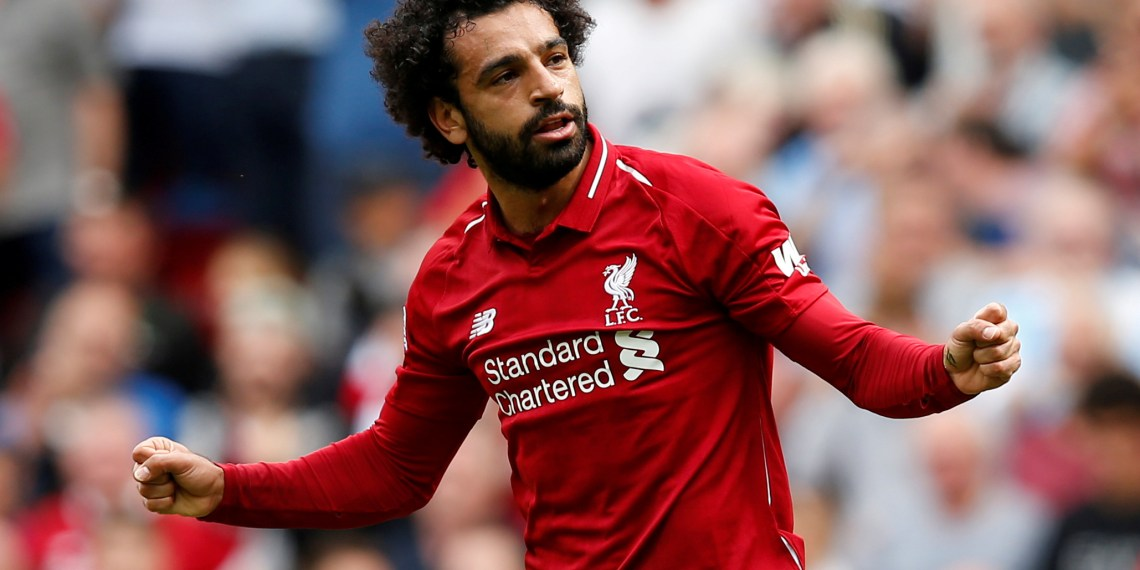 Soccer Football - Premier League - Liverpool v West Ham United - Anfield, Liverpool, Britain - August 12, 2018 Liverpool's Mohamed Salah celebrates scoring their first goal REUTERS/Andrew Yates