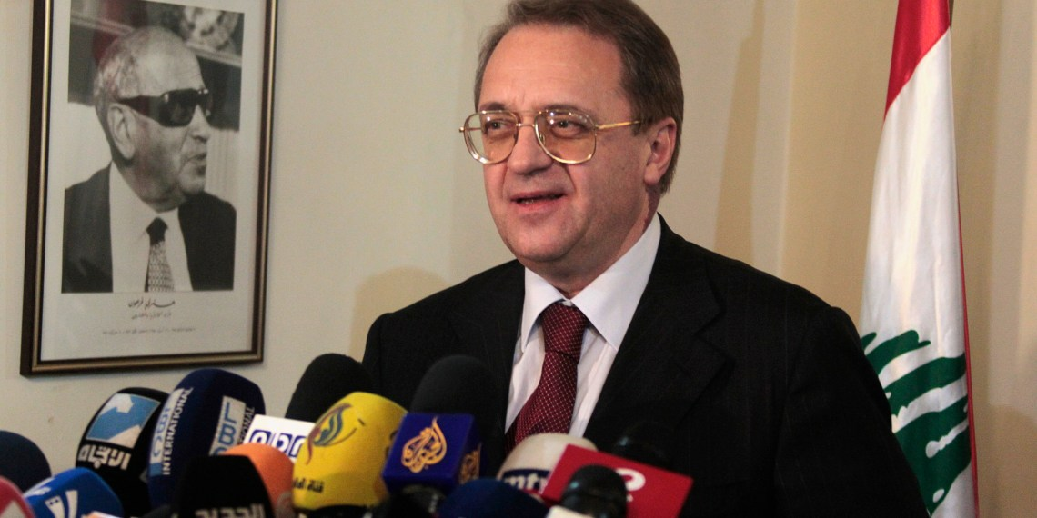 FILE PHOTO: Russia's Deputy Foreign Minister Mikhail Bogdanov talks during a news conference at the Foreign Ministry in Beirut December 5, 2014. REUTERS/Aziz Taher/File Photo