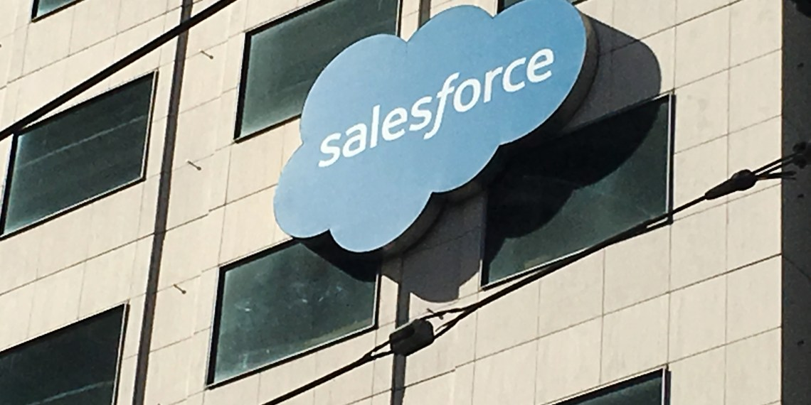 FILE PHOTO: The Salesforce logo is pictured on a building in San Francisco, California, U.S. October 12, 2016. REUTERS/Lily Jamali/File Photo