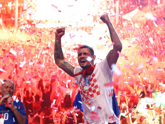 Croatia's Dejan Lovren during celebrations for the World Cup team in Zagreb. REUTERS/Antonio Bronic