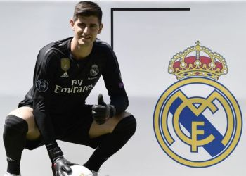 Thibaut Courtois poses during his presentation at the Santiago Bernabeu