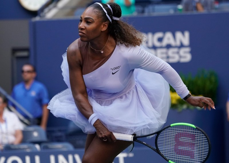 Sept 2, 2018; New York, NY, USA; Serena Williams of the USA hits to Kaia Kanepi of Estonia (not pictured) in a fourth round match on day seven of the 2018 U.S. Open tennis tournament at USTA Billie Jean King National Tennis Center. Mandatory Credit: Robert Deutsch-USA TODAY Sports