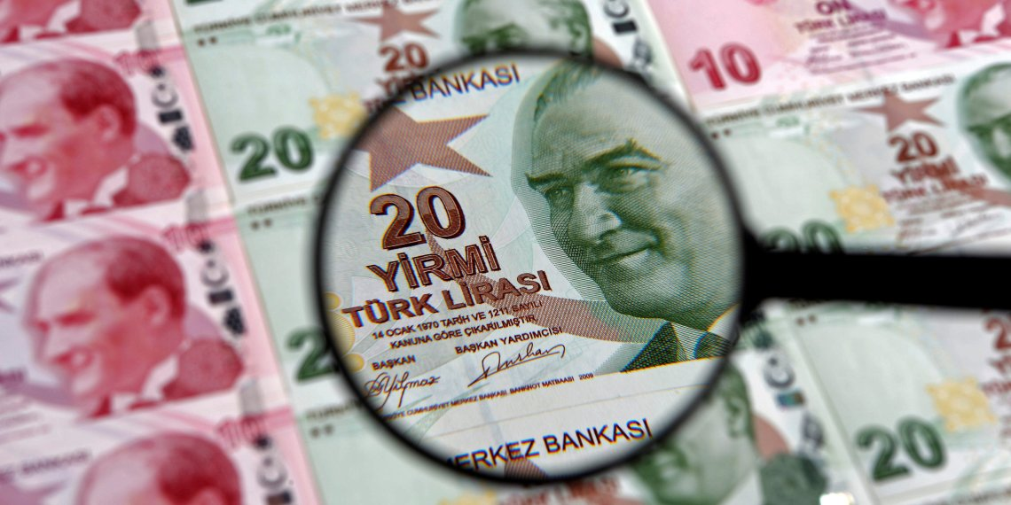 FILE PHOTO: A 20 lira banknote is seen through a magnifying lens in this illustration picture taken in Istanbul January 28, 2014. Turkey's central bank governor raises hopes of emergency rate hike in face of opposition from Prime Minister Tayyip Erdogan, denying he is hostage to political pressures and vowing to fight rising inflation and tumbling lira. REUTERS/Murad Sezer/File Photo