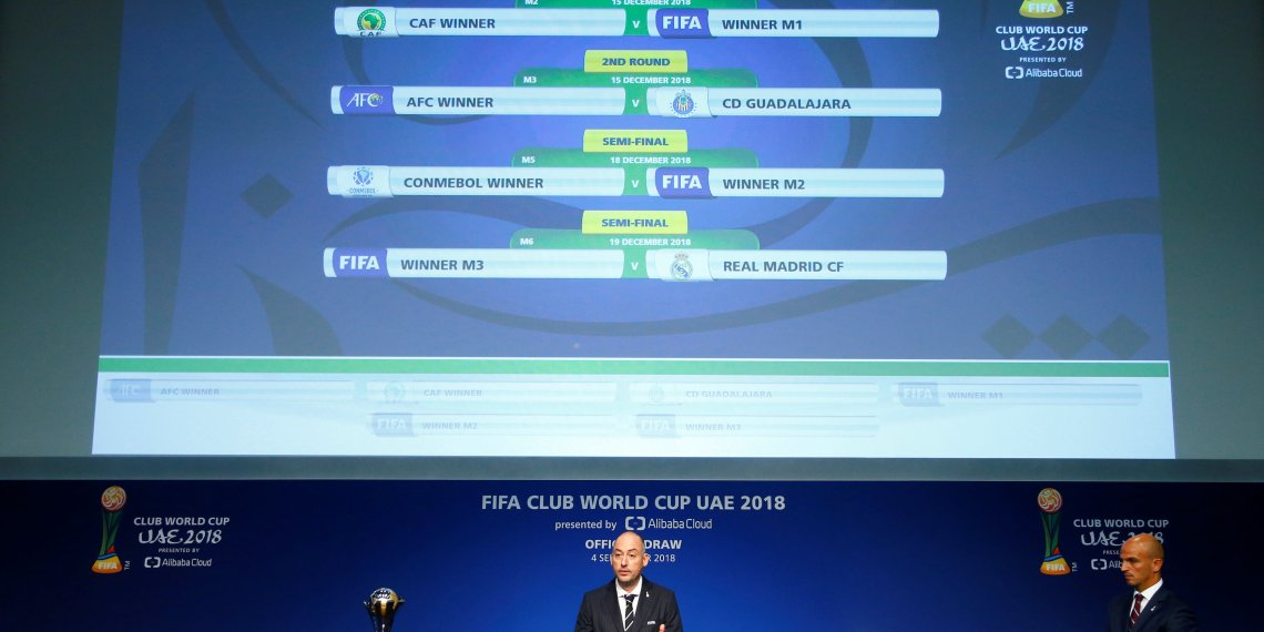 Soccer Football - Official Draw for the FIFA Club World Cup UAE 2018 - Zurich, Switzerland - September 4, 2018 FIFA Club World Cup competition director Jaime Yarza and Esteban Cambiasso during the draw REUTERS/Arnd Wiegmann