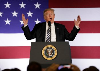 U.S. President Donald Trump speaks at a campaign fundraising luncheon for Rep. Ted Budd (R-NC) and GOP congressional candidate Mark Harris at Carmel Country Club in Charlotte, NC, U.S., August 31, 2018. REUTERS/Yuri Gripas