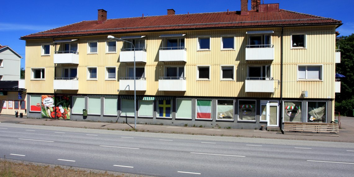 Town council property to house asylim seekers with closed shops are seen in Stalldalen, Sweden June 26, 2018. Picture taken June 26, 2018. REUTERS/Simon Christopher Johnson