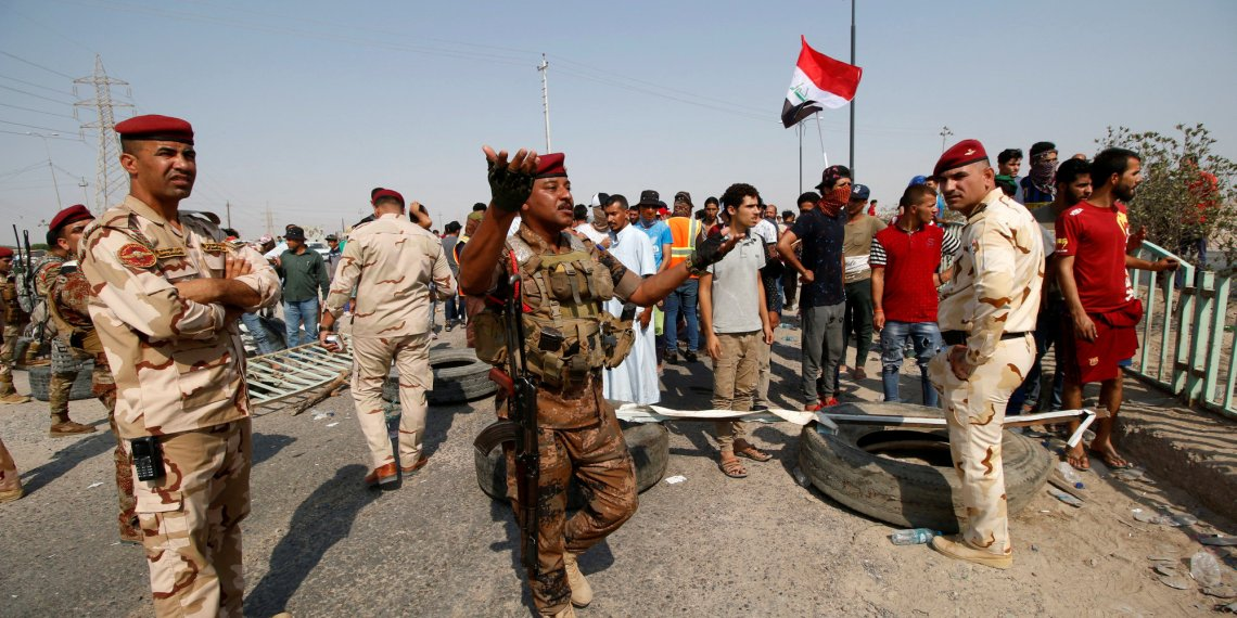 Iraqi soldiers are seen at Umm Qasr Port after it was closed by protesters in south of Basra, Iraq September 6, 2018. REUTERS/Essam al-Sudani