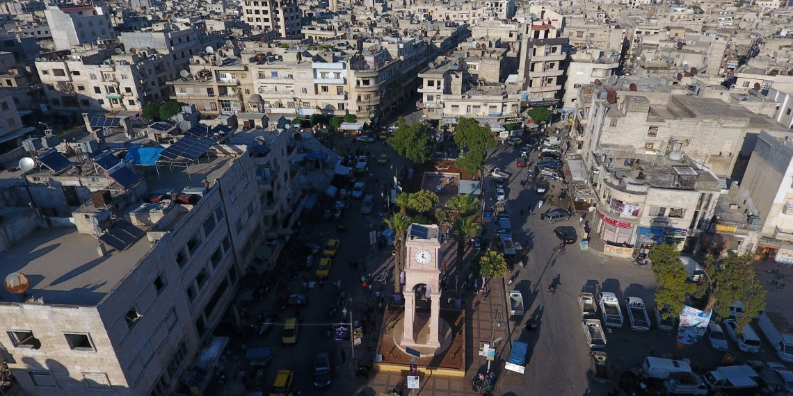 A general view taken with a drone shows the Clock Tower of the rebel-held Idlib city, Syria June 8, 2017. Picture taken June 8, 2017. REUTERS/Ammar Abdullah